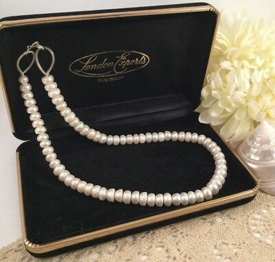 Vintage Jewellery Genuine Pearl Necklace Sterling Silver Clasp Jewelry Pearls