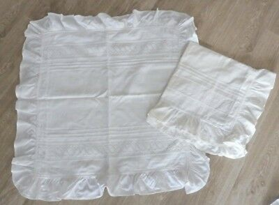 Paire de taies oreillers ancienne , coton , broderie anglaise