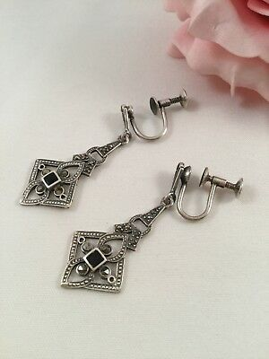 Antique Victorian Vintage Jewellery Sterling Silver Earrings Marcasites Jewelry