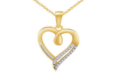 925 Sterling Silver Round Diamond in Heart Pendant (1/10 cttw)
