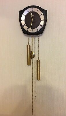 Junghans Pendulum Clock Vintage 1970s German Weighted Chiming Wind Up Wooden