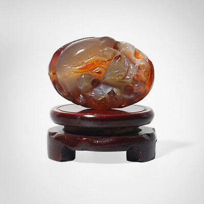 Chinese Natural Agate Jade Hand Carved Lucky  Brave troops Statue Decoration