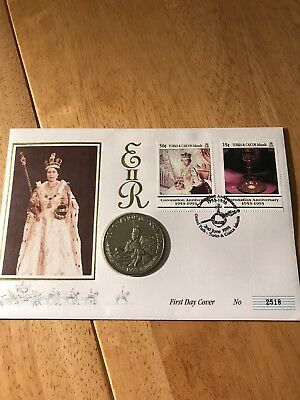 1993 5 Crowns First Day Coin Cover 40th Anniversary Coronation of The Queen