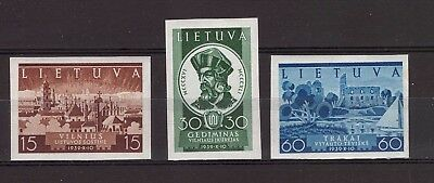 Lithuania 1940 Recovery of Vilnius AJ No. 443-445A.  Imperforated, MH