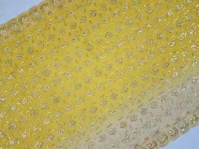 Vintage Indian Art Decor Scarf Embroidered Georgette Dupatta Veil Stole Hijab L""