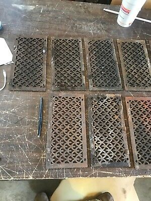 Rl 14 27 Av Each antique cast-iron heating grate face fishscale 4 7/8 x 9 5/8""