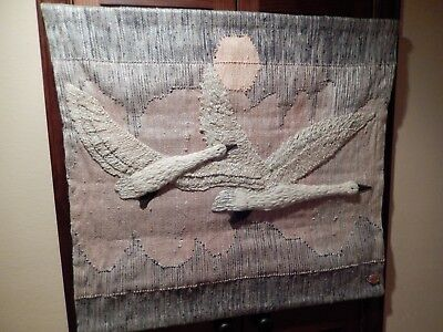 Vintage 1983 Don Freedman Double Swan Fiber Art Wall Hanging, Blue and Peach