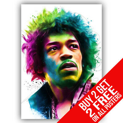 Jimi Hendrix Poster Art Print A4 A3 Size -Buy 2 Get Any 2 Free