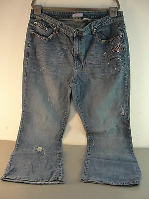 Zana Di Jeans Womens Sze 22 Stretch Blue Denim Distressed Embellished Rhinestone