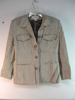 Jones New York Womans Silk Business Suit Jacket Blazer Coat Tan Beige Size 8 Usa