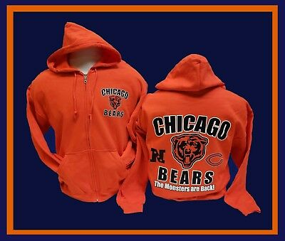 CHICAGO BEARS Monsters Are Back Hoodie ORANGE Zipper Hooded Sweatshirt 2  Sided 0035a246f