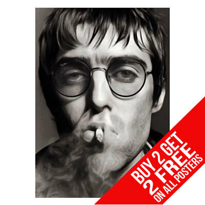 Liam Gallagher Smoking Oasis Poster Art Print A4 A3 Size -Buy 2 Get Any 2 Free