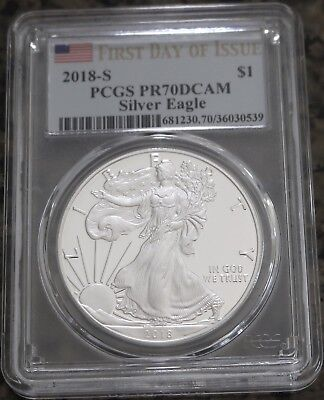 2018-S American Silver Eagle Proof PCGS PR70DCAM First Day of Issue