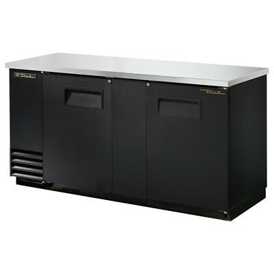 "True TBB-3 Back Bar Cooler, 2 Door, 69""W, Black"