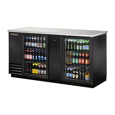 "True TBB-3G-LD Back Bar Cooler, 2 Glass Door, w/LED Lighting, 69""W, Black"