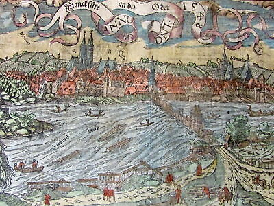 Frankfurt Germany 1590's Munster old panoramic city view wonderful hand color