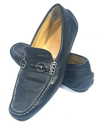 d5b5c08f2980f Geox Mens Shoes Respira Black Pebbled Leather Loafers Horse Bit Size 43 US  10