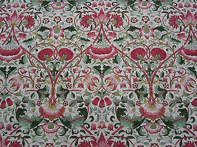 William Morris Curtain Fabric 'LODDEN' 2 METRES Rose/Thyme (200cm) 100% Cotton