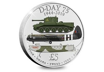 £ 5 D-DAY 75th ANNIVERSARY, 1944 - 2019, Five Pound Coloured Coin BUNC. FREEPOST