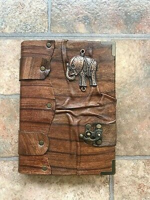 Belt Strap Leather Journal Handmade Notebook Diary Elephant Design Brown Large