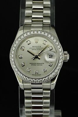 51b23eb78a5 Rolex Lady-Datejust 179136 Platinum Diamond Bezel   Dial on President  Bracelet