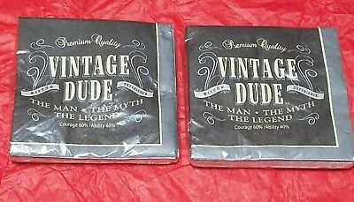 364c1e1bc7a80 Lot of 2 New Birthday Men s Party  Vintage Dude  Paper Beverage Napkins ...