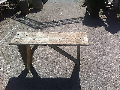 Antique Vingage  Bucket wooden Farm Bench Archetectual salvage