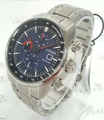 Citizen Eco-Drive CA0590-82L Men's 45mm S/Steel Chronograph Watch NWT+SHIPS FREE
