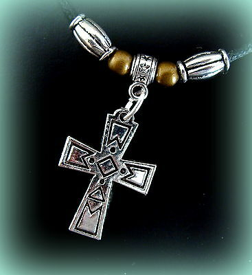 CROSS PENDANT Necklace Jewelry - Byzantine Medieval INDIAN Art Deco style