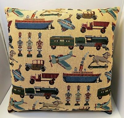 """Set of 2 / Pair of Handmade Vintage Toy Design Accent Decor Throw Pillows  17""""sq"""