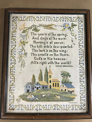 "Vintage Needlepoint ""The Years's At The Spring....."" - Framed"