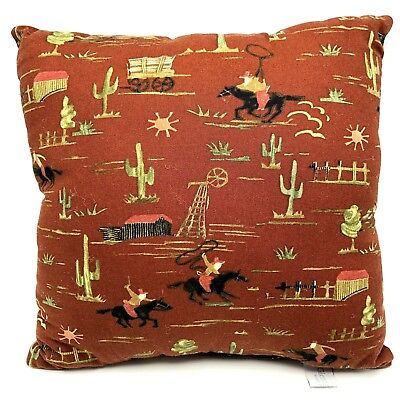 Glenna Jean Go West Cowboy Western Throw Pillow 13x12.5 Brown Rare Discontinued