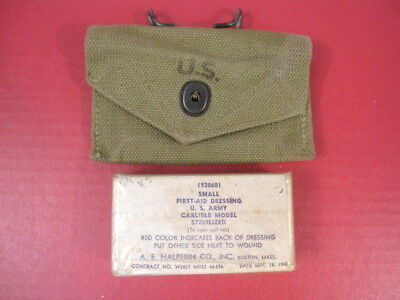WWII US Army M1942 First Aid Kit Canvas Pouch w/Carlisle Bandage - Dated 1943 #1