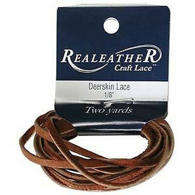 "2 Yds. Deerskin Saddletan Leather Lace 1/8"" Craft and Jewelry Beading Cord"