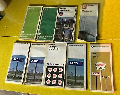 Lot of 9 Vintage US Road Maps - Arco Mobil Chevron Shell Ohio Indiana Chicago