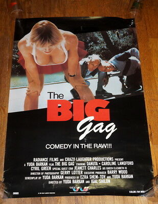 """The Big Gag (1987) VTG movie poster 36"""" by 24"""" European comedy low budget T&A"""