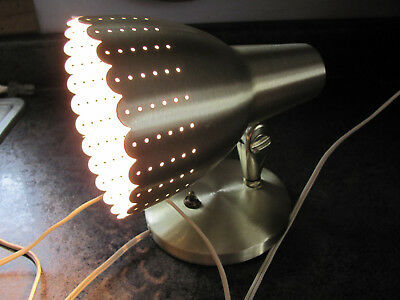 Pierced Scalloped Gold tone Bullet Sconce Mid Century Modern Wall Mount, Works