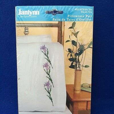 Iris Trio Stamped Pillow Cases for Cross Stitch by Janlynn New in Package