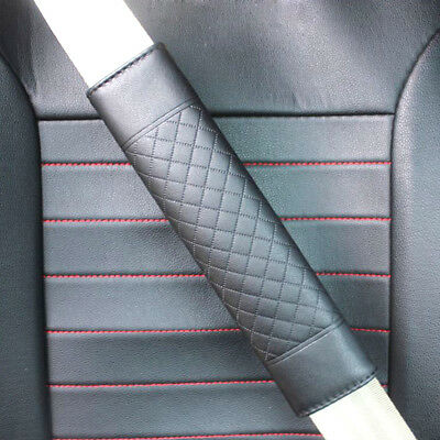 2X Black Car Auto Safety Belt Covers Leather Seat Belt Shoulder Pad Adjustable