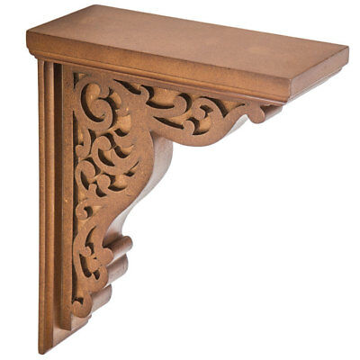 RUSTIC CORBELS / BRACKETS Carved Scroll Wood Corbel Set Of 2 Elegant DECOR