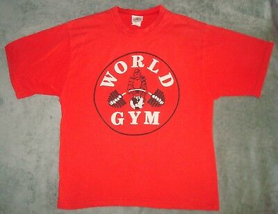 VTG 80s 90s WORLD GYM T SHIRT MENS XL MUSCLE GORILLA RED SOFT BEACH WORKOUT TEE