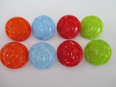 8 x 20mm MIXED ROSE Plastic Button with Shank/Loop C604