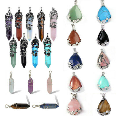 Gemstone Hexagonal Quartz Crystal Healing Point Pendant For Necklace Making DIY