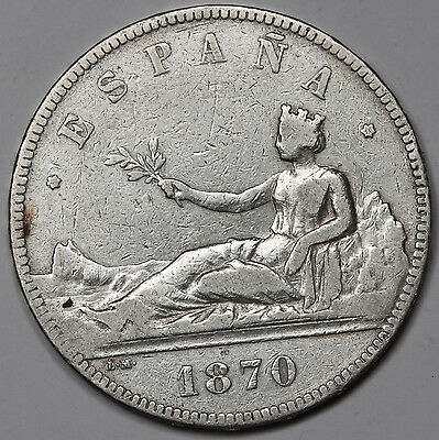 1870 (70) Spain SN-M Seated Liberty 5 PESETAS Silver Coin VF KM# 655 Crown Size
