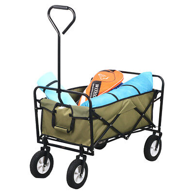 Folding Utility Wagon Hand Garden Cart Pull Along Festival Camping Trolley Olive