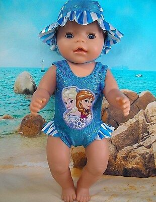 """Dolls clothes for 17"""" Baby Born doll~AQUA FROZEN SISTERS SWIMMING COSTUME~HAT"""