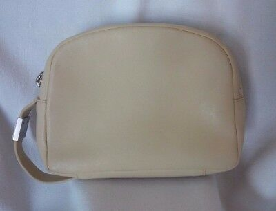 ec3a8898e97b Vintage GIANNI VERSACE Faux Leather Cosmetic Travel Toiletry Pouch Bag -  Ivory