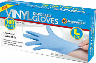 100 Disposable Powdered Latex Free Blue Clear Vinyl Gloves Food Medical Surge