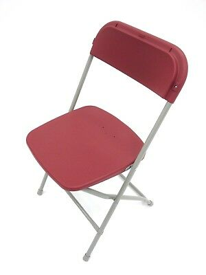 Red Folding Samsonite Style Chairs, Fold flat chairs, plastic folding chairs