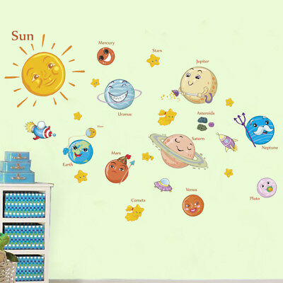 education solar system planets wall sticker space universe kid room decor Tf